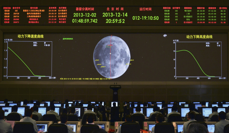 Image: A giant electronic screen displays the mission operation information of China's Chang'e-3 lunar probe as researchers work at the Beijing Aerospace Control Center, in Beijing