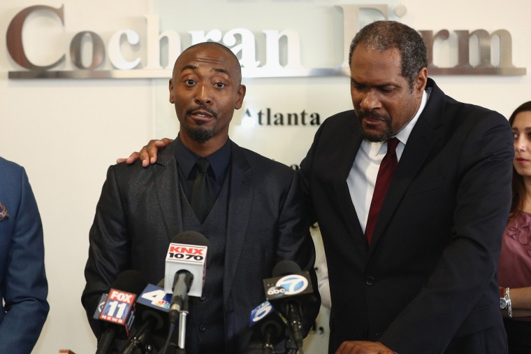 Image: Actor Darris Love speaks during a press conference
