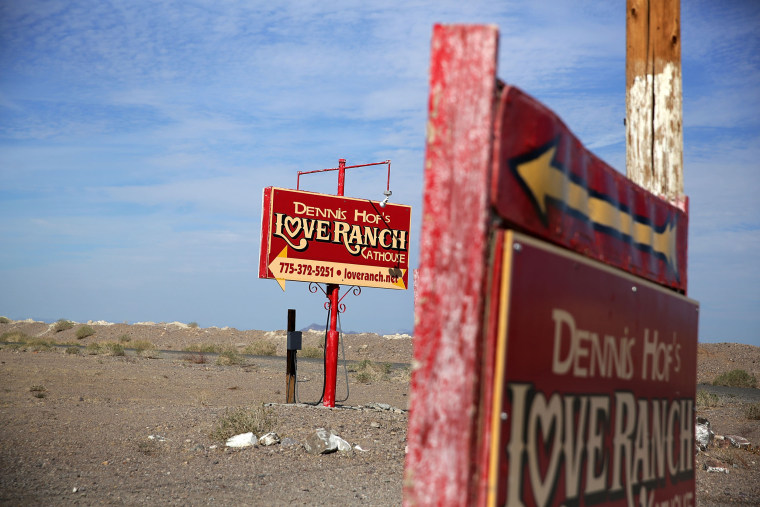 Signs for Dennis Hof's Love Ranch Las Vegas brothel