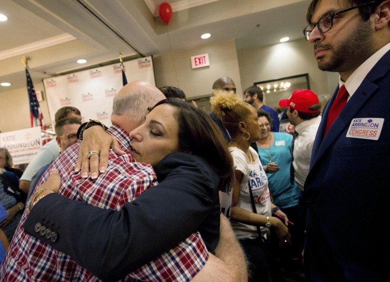 Image: State Rep. Katie Arrington hugs supporters