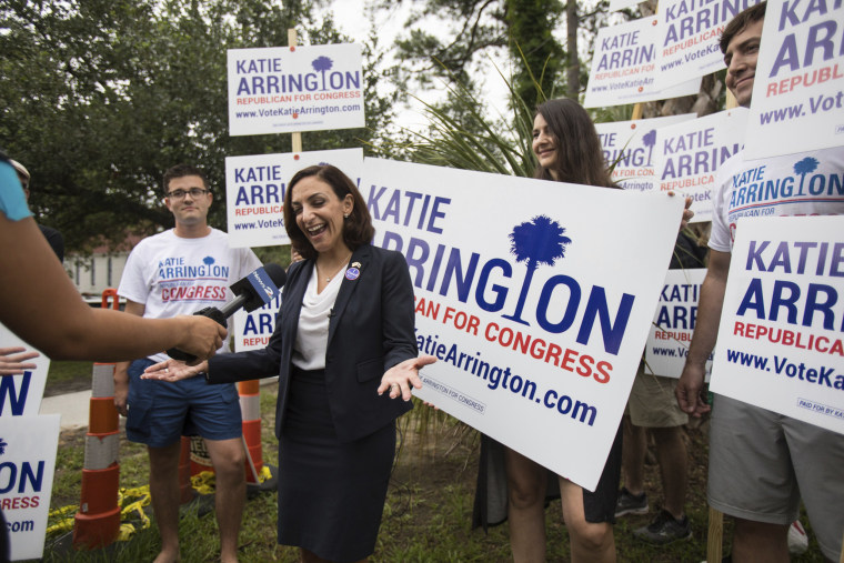 Image: South Carolina Rep. Katie Arrington campaigns after voting in the primary election