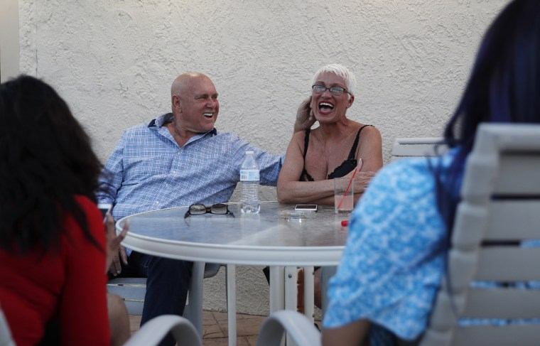Image: Dennis Hof jokes with madam Sonja Bandolik at the Love Ranch brothel
