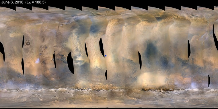 Image: This global map of Mars shows a growing dust storm