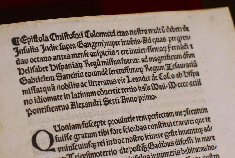 Image: Christopher Columbus Vatican Letter