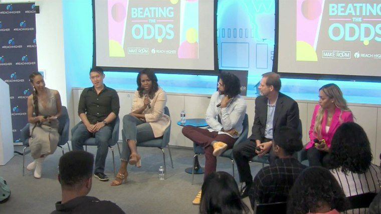 Image: Michelle Obama speaks on a panel at the Beating the Odds Summit