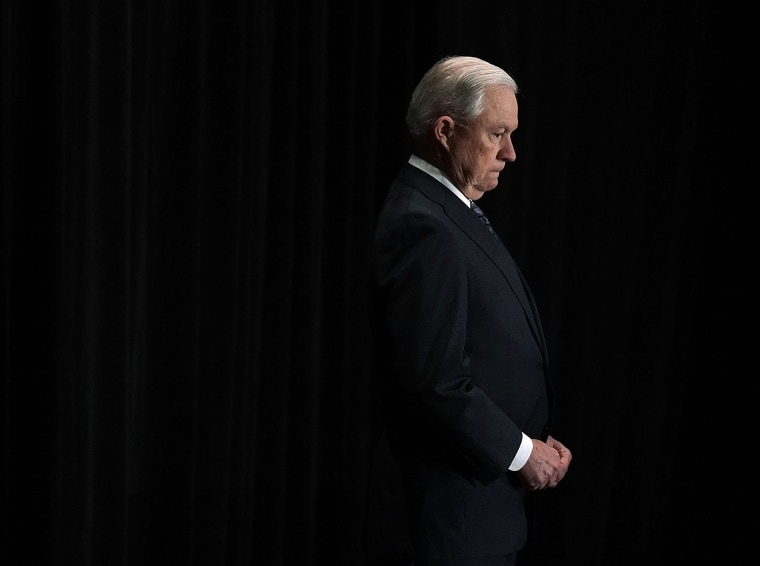 Image: Jeff Sessions listens as he is introduced during the Justice Department's Executive Officer for Immigration Review