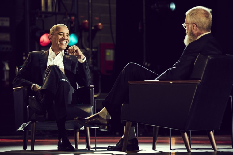 Image: Barack Obama and David Letterman
