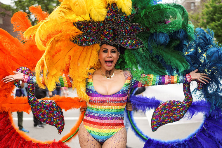 Image: People take part in the Pride day parade in the Queens borough of New York City
