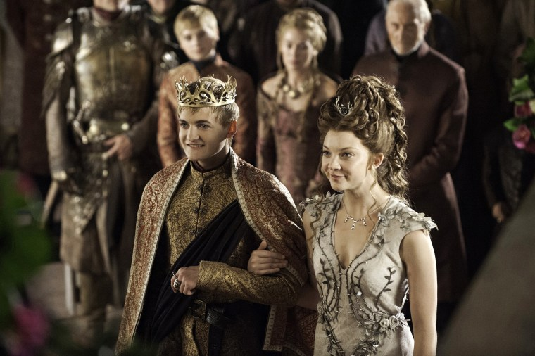 "Image: Joffrey (Jack Gleeson) and Margaery (Natalie Dormer) at their Purple Wedding on ""Game of Thrones"""