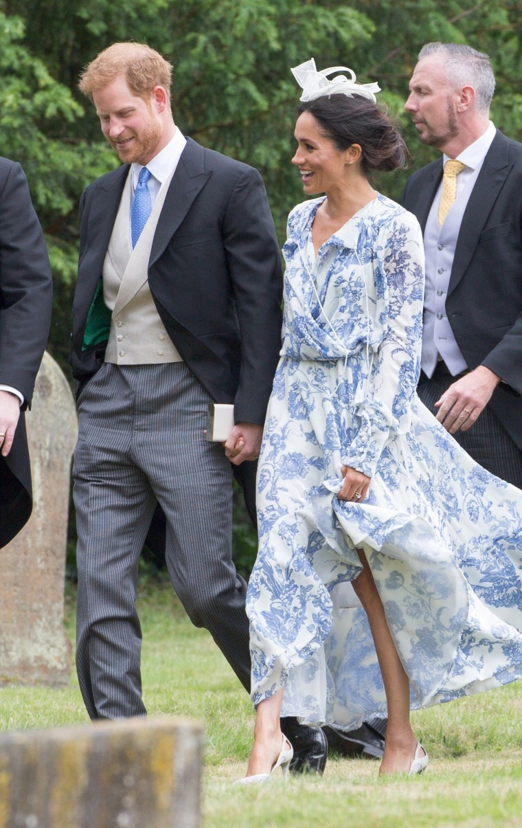 Meghan Duchess Of Sussex And Prince Harry Duke Of Sussex Arriving For The Wedding Of Celia McCorquodale In Stoke Rochford