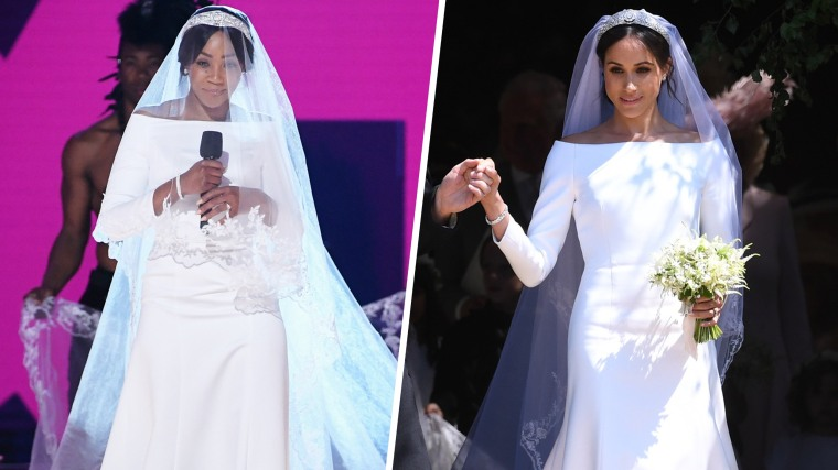 Tiffany Haddish wears Meghan Markle-inspired wedding gown at MTV ...