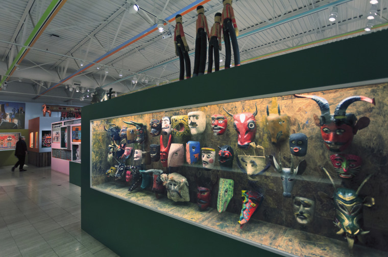 Display of Guatemalan Dance Masks at Museum of International Folk Art on Museum Hill, Santa Fe, New Mexico, USA