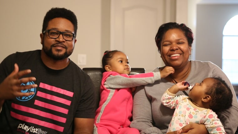 La Guardia and Leah Cross with their daughters, Amalah, 3, and Nayely, 1.