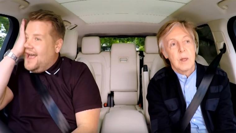 James Corden and Paul Mccartney on Carpool Karaoke