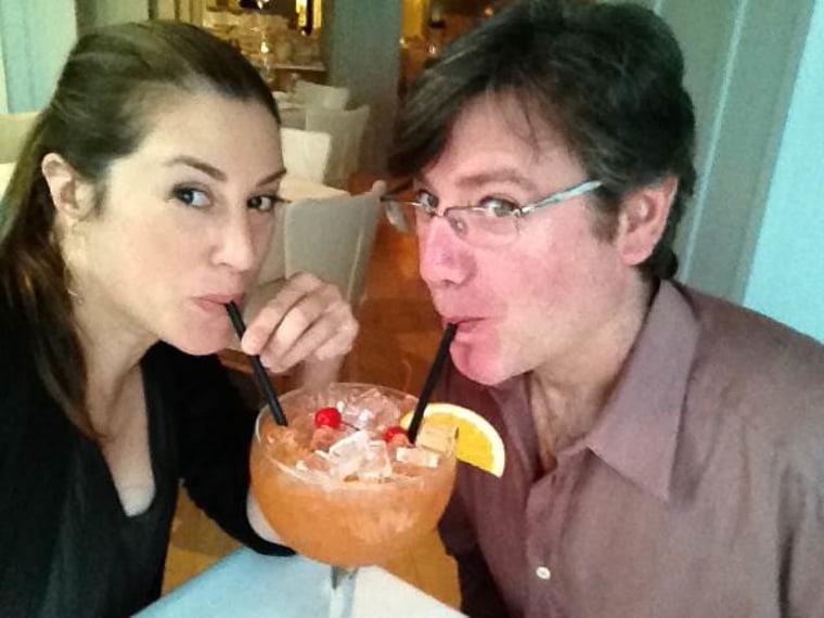 Sarah Mazies shares a drink