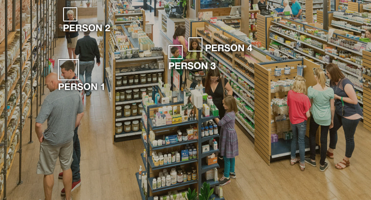 Image: When using Amazon Rekognition to analyze video, you can track people through a video even when their faces are not visible.