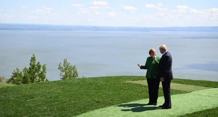 Image: Merkel and Trump during the G7 summit]