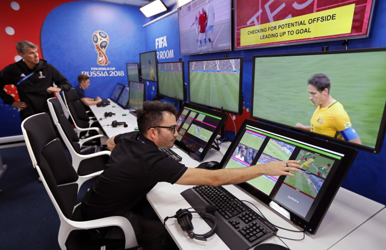 Image: The video assisted-referee (VAR) video operation room at the 2018 World Cup International Broadcast Centre