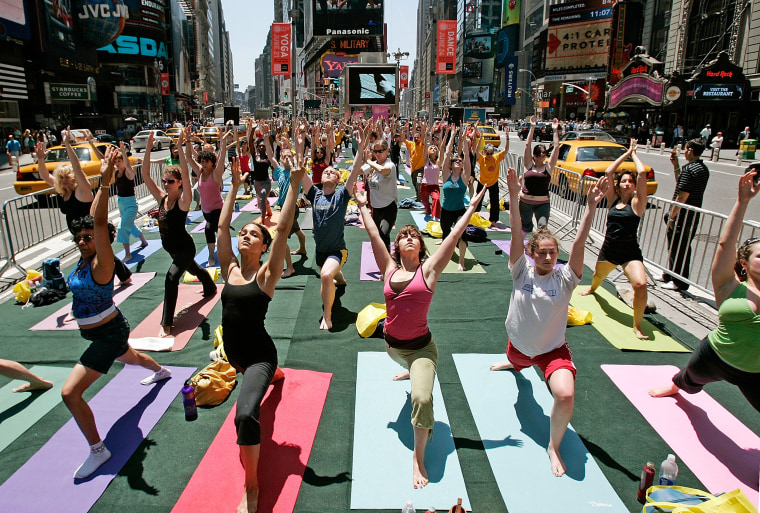 Image: Yoga Practitioners Greet Summer Solstice In Times Square