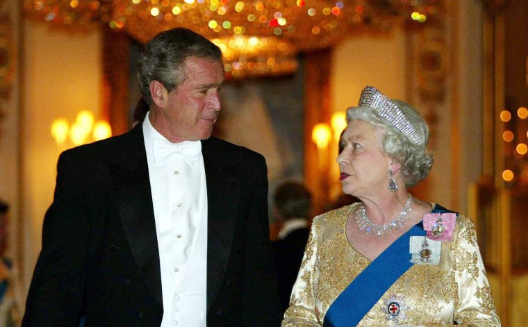 Image: President George W. Bush met the queen in 2003 despite anti-Iraq war protests.