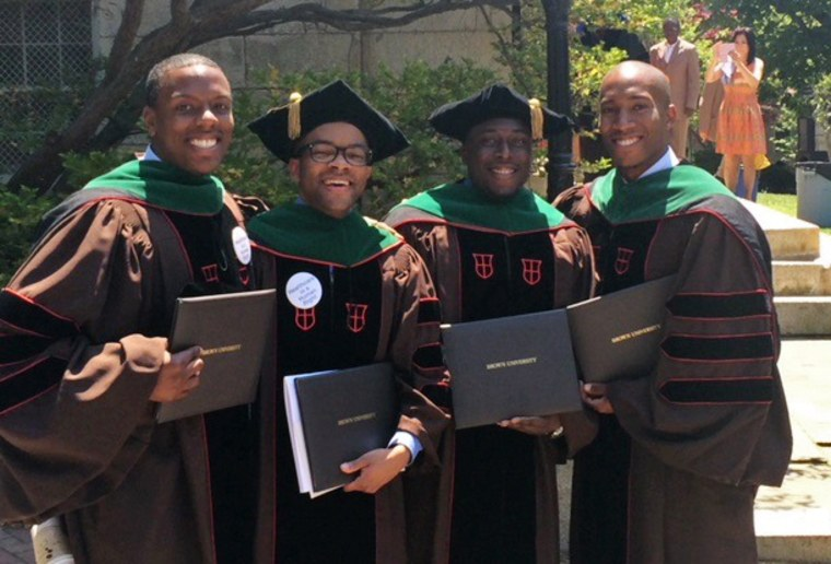 From left, Dr. Calvin Lambert Jr., Dr. Shakir McLean, Dr. Jerry Nnanabu and Dr. Gregory Barnett — four of the eight black men in Brown University medical school's 2015 graduating class. The class numbered 120.