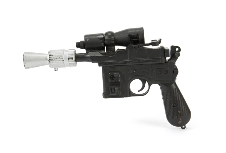 "Han Solo's BlasTech DL-44 blaster from the Star Wars trilogy film ""Return of the Jedi"" in 1983 sold for $550,000 at Julien's Auctions Hollywood Legends sale Saturday night in Las Vegas."