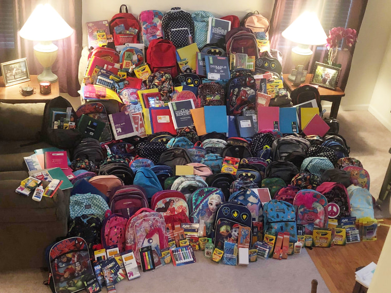 Tammy Waddell died from cancer and asked for backpacks for students instead of flowers at her funeral.