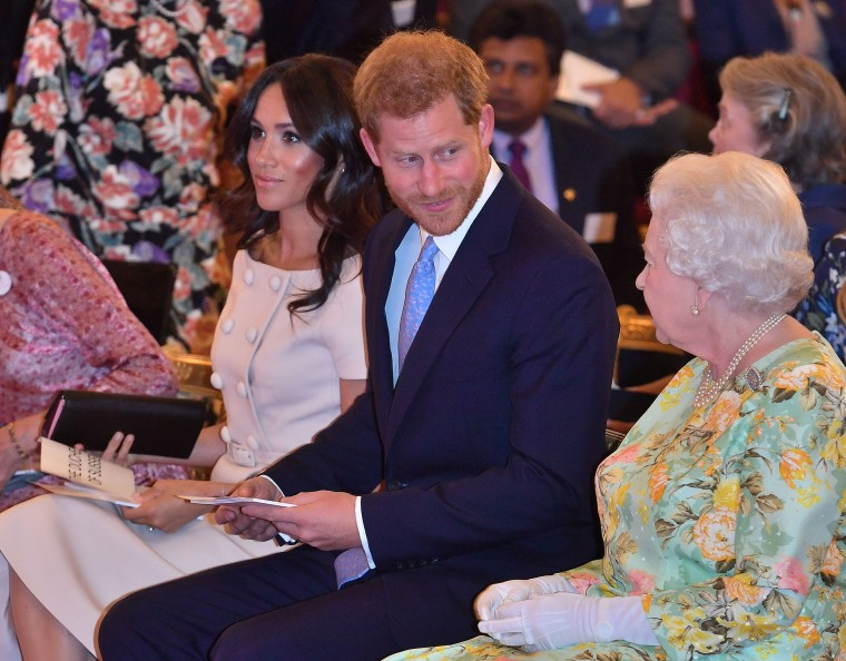 Britain's Queen Elizabeth, Prince Harry and Meghan, Duchess of Sussex