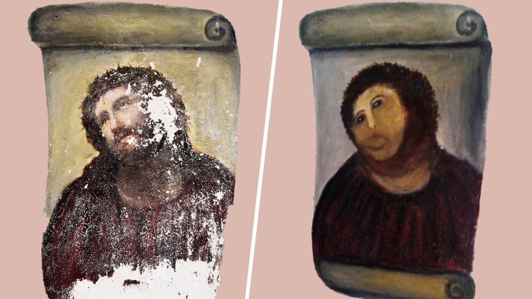 20th century Ecce Homo-style fresco of Christ , left and the 'restored' version, at right.