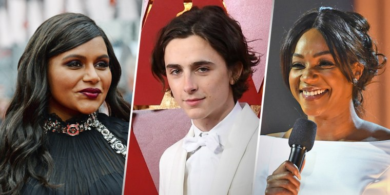From left, Mindy Kaling, Timothee Chalamet and Tiffany Haddish.