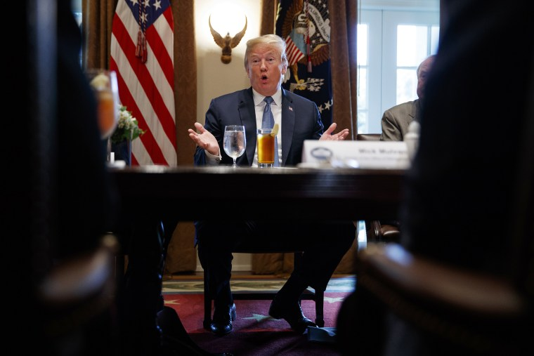 President Donald Trump speaks during a meeting with Republican lawmakers in the Cabinet Room of the White House, in Washington on June 26, 2018.