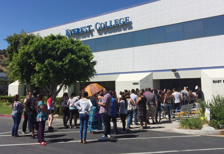 Image: Students wait outside Everest College in 2015 in Industry, California