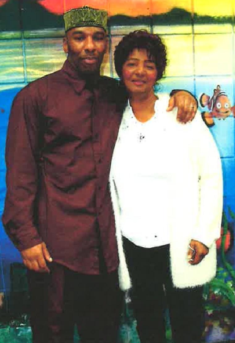 Eric Riddick with his mom, Christine.