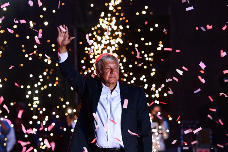 Image: Andres Manuel Lopez Obrador waves to supporters during the closing rally of his campaign