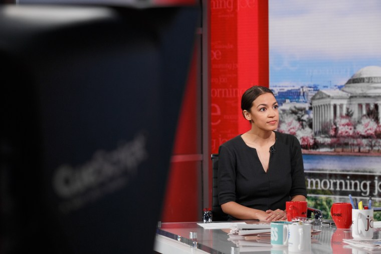 Alexandria Ocasio-Cortez on the set of Morning Joe after her historic primary win