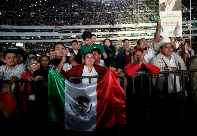 Image: Supporters attend the closing campaign rally of Mexican presidential candidate Andres Manuel Lopez Obrador at the Azteca stadium, in Mexico City