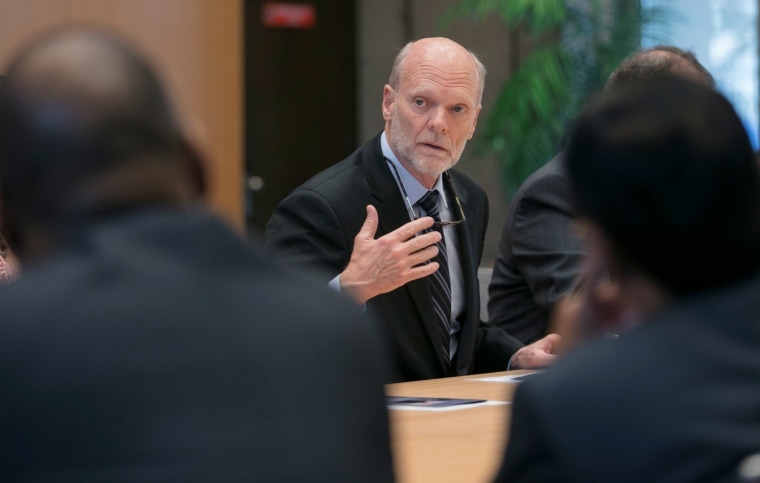 Image: Isaacs, U.S. candidate for Director general of IOM is pictured in this photo released by U.S. Mission Geneva, in Geneva