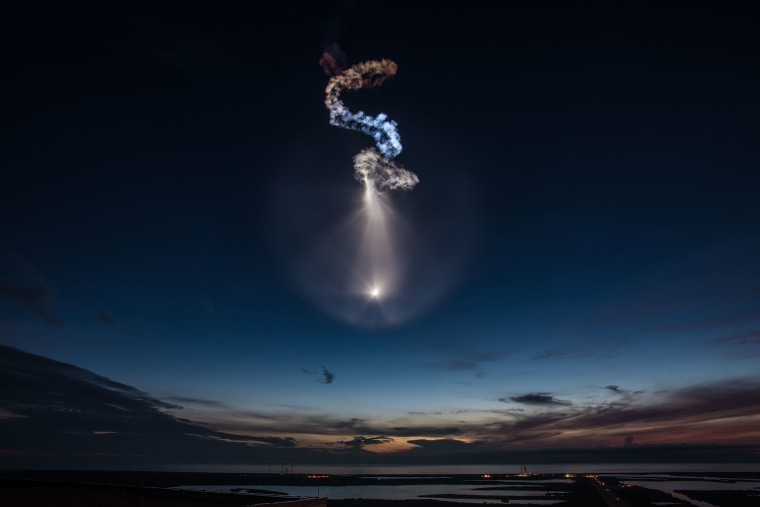A SpaceX Falcon 9 rocket launches just before dawn on June 29, 2018 at Launch Complex 40 at Cape Canaveral Air Force Station carrying supplies to the space station.
