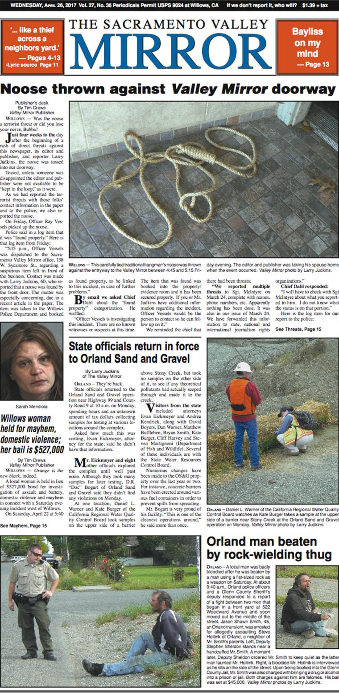 Image: Sacramento Valley Mirror Front Page