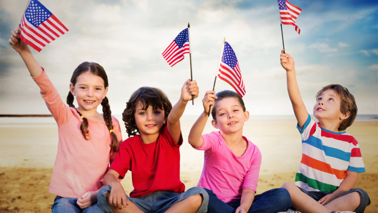 Kids celebrate the fourth of July