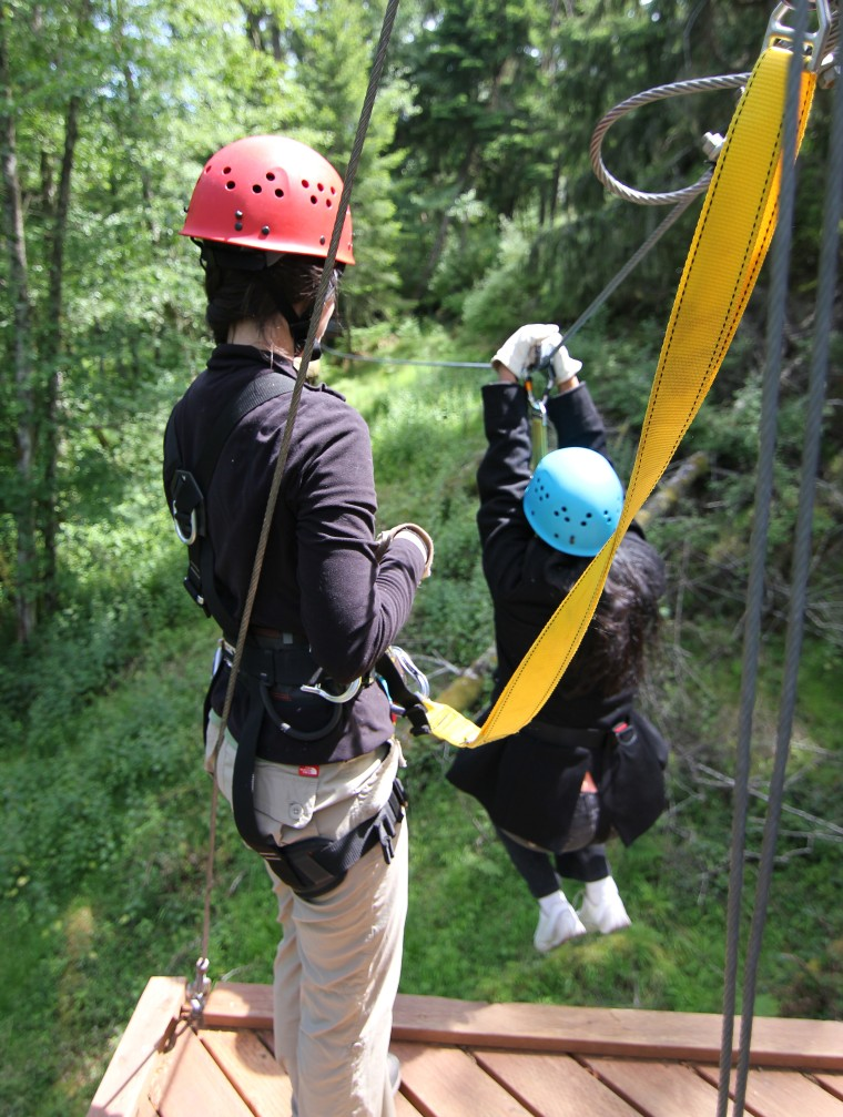 Zip lining in the San Juan Islands