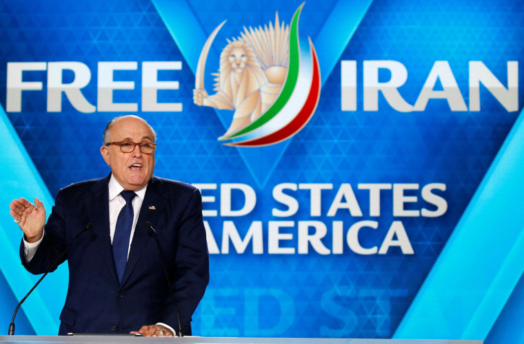 Image: Rudy Giuliani, former Mayor of New York City, delivers his speech as he attends the NCRI, meeting in Villepinte