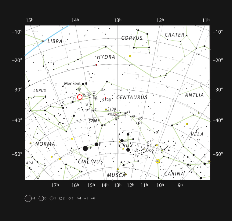 Image: A chart of the southern constellation of Centaurus and most of the stars visible to the unaided eye