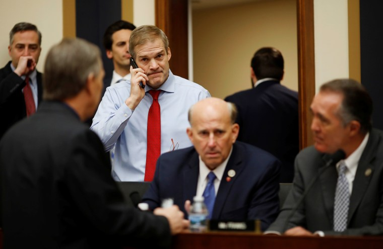 Rep. Jim Jordan arrives before a House Judiciary Committee hearing on Capitol Hill