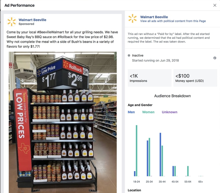 The Walmart ad for baked bans that Facebook's system flagged.