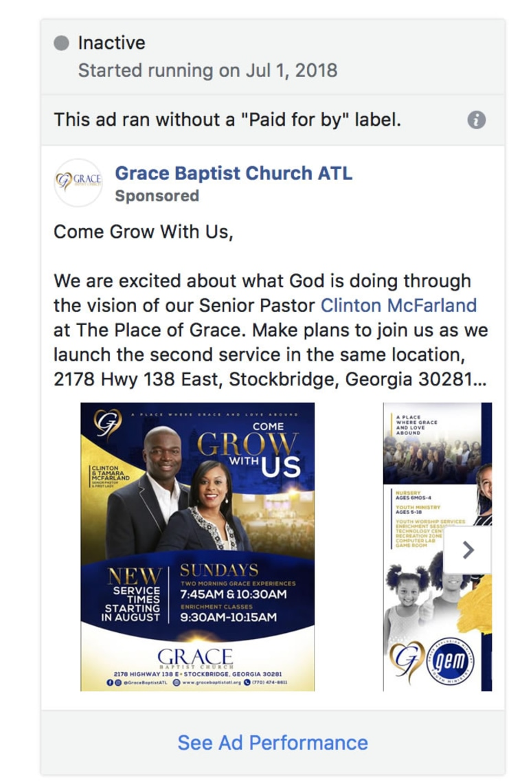 The ad from a reverend that Facebook's system flagged.