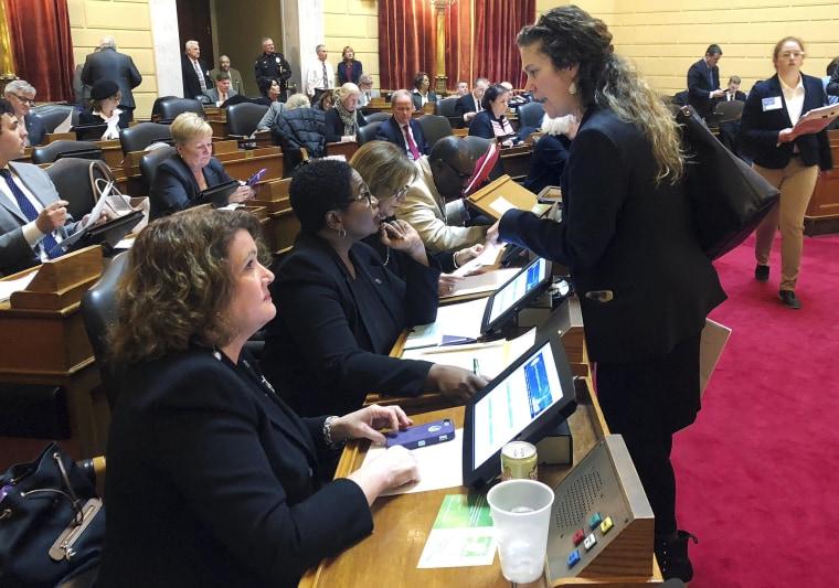 Democratic state Rep. Teresa Tanzi, standing, talks with Democratic Rep. Marcia Ranglin-Vassell