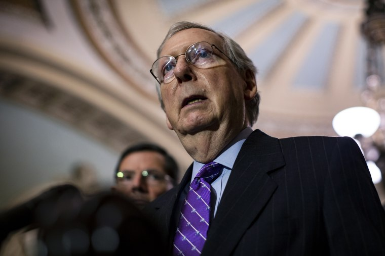 Image: Senate Majority Leader Mitch McConnell speaks during a news conference