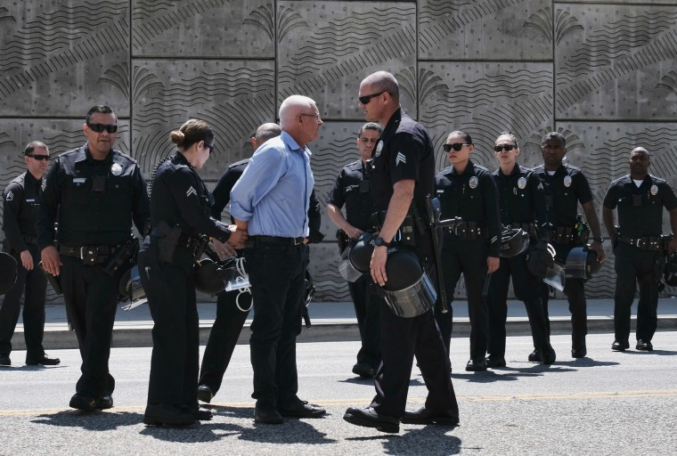 Image: Los Angeles City Councilman Mike Bonin is handcuffed
