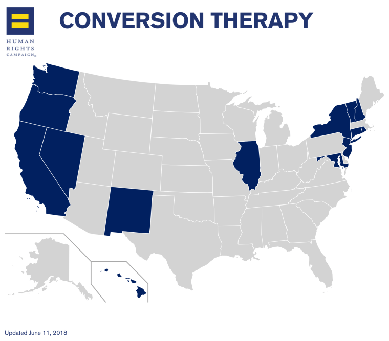 This map indicates states that protect LGBTQ youth from conversion therapy through licensing restrictions which prevent licensed mental health service professionals from conducting conversion therapy on youth under age 18.